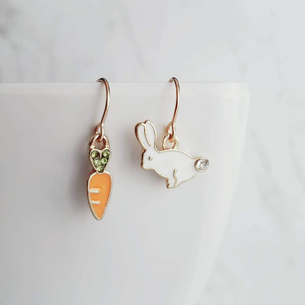 Bunny Earrings - Easter rabbit & little carrot with white/orange enamel finish - small crystal accents - simple 14K gold fill ear hooks - Constant Baubling