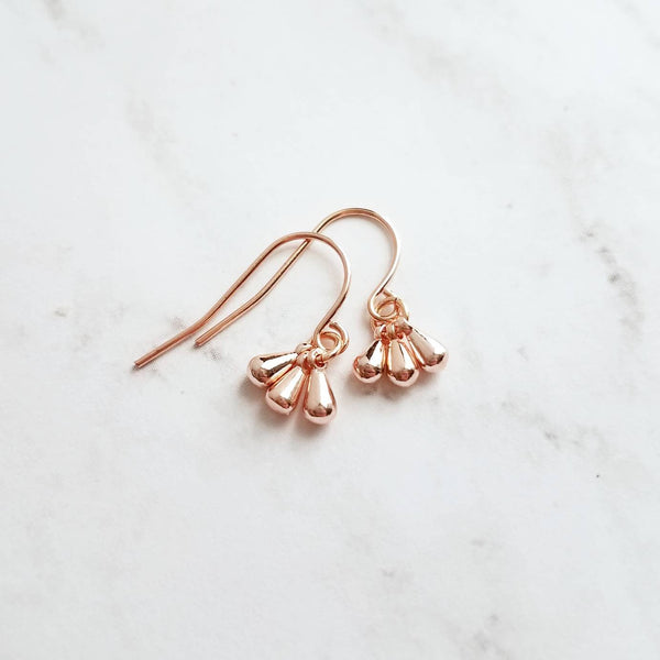 Rose Gold Drop Earrings - dainty little dangle teardrop minimalist trio of small polished charms - 14K gold fill upgrade hook option - Constant Baubling