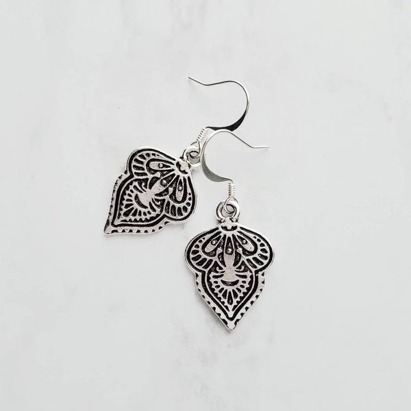 Silver Medallion Earrings - Boho leaf shape damash style drops - intricate recessed antiqued finish - pretty unique Bohemian tribal dangles - Constant Baubling