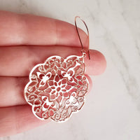 Rose Gold Earrings- floral Morrocan medallions with delicate thin filigree cut out design - locking kidney style hooks - large lightweight - Constant Baubling