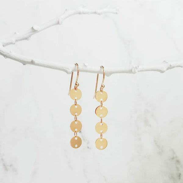 Gold Disk Earrings - long strand of shiny reflective connected circle tags - lightweight simple round disc dangle - 14K gold hook option - Constant Baubling