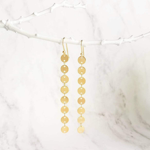 Long Gold Sequin Earrings - single strand of tiny shiny connected circle disc tags - lightweight simple round disk dangle - 14K gold hook option - Constant Baubling