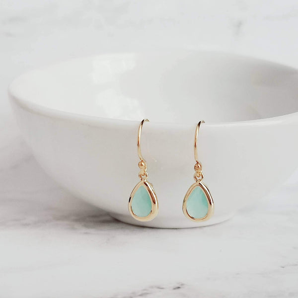 Gold Teardrop Earrings- small mint blue drop in delicate frame - milky translucent faceted glass - little delicate bridal bridesmaid jewelry - Constant Baubling