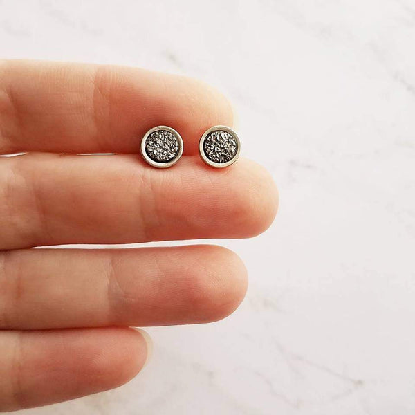 Gunmetal Silver Stud Earrings - tiny faux druzy stone - simple small round rough rock - hypoallergenic post drusy imitation little gray gem - Constant Baubling