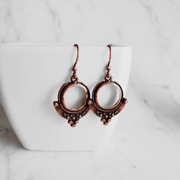 Copper Hoop Earrings - small round circle w/ ball accents - antique aged finish rust brown little simple ear hook - lightweight/minimalist - Constant Baubling