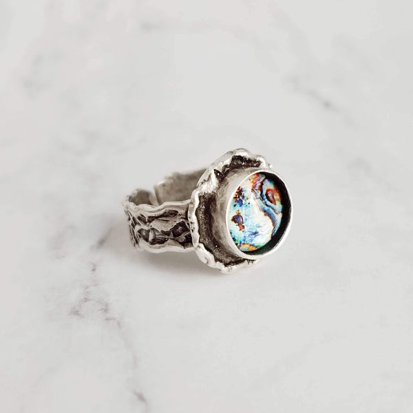 Chunky Silver Ring - deep round bezel set faux paua shell inset - ocean watercolor - antiqued/oxidized finish - adjustable band 7 8 9 10 - Constant Baubling