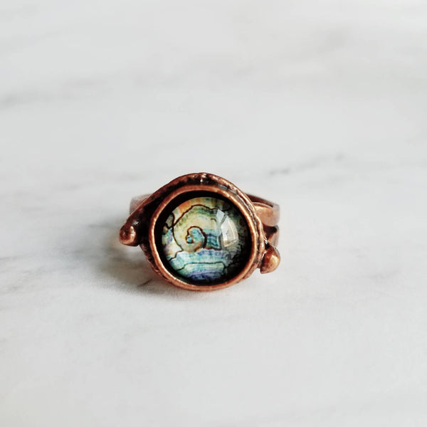Copper Ring - chunky asymmetrical deep bezel set faux paua shell - ocean wave watercolor - antiqued/oxidized finish adjustable band 7 8 9 - Constant Baubling