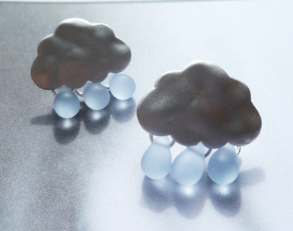 Rain drop cloud earrings in silver w/ blue glass droplets - Raindrops Keep Falling on My Head - white gold with .925 sterling silver posts