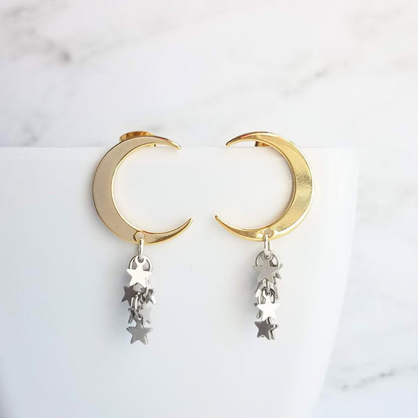 Shooting Star Earrings - crescent moon & celestial cascade of stars - choose from gold or silver mixed metals or solid color - make a wish - Constant Baubling