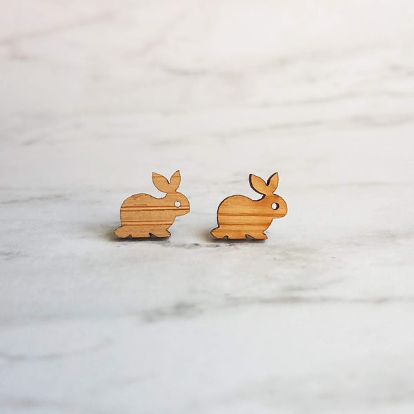 Baby Bunny Studs w/ surgical stainless steel posts/backs - cute little rabbit cut out earrings - hypoallergenic jewelry gift - Constant Baubling