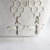 Honeybee Earrings - silver rhodium finish honeycomb and little bumblebee charm dangle - 2 inch - handmade bee lover summer jewelry gift - Constant Baubling