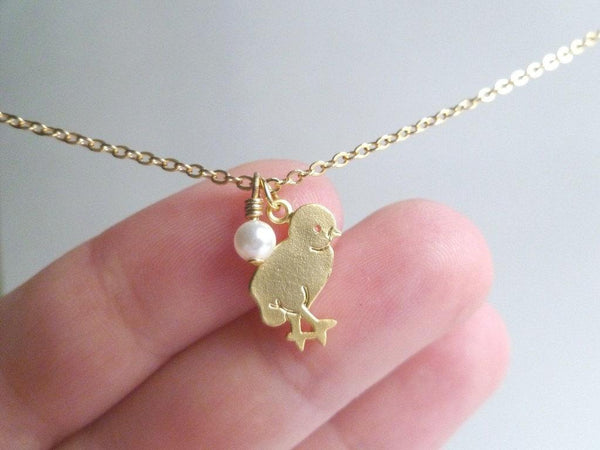 Baby Chick Necklace - shiny gold/silver plated small pendant charm - tiny Swarovski pearl - simple chain - CHIC PEEP Easter spring chicken - Constant Baubling