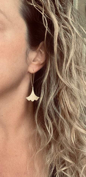Gold Leaf Earrings - Asian ginkgo leaves in brushed gold brass w/ simple flat ruffled edge charm - resilience endurance and longevity symbol - Constant Baubling
