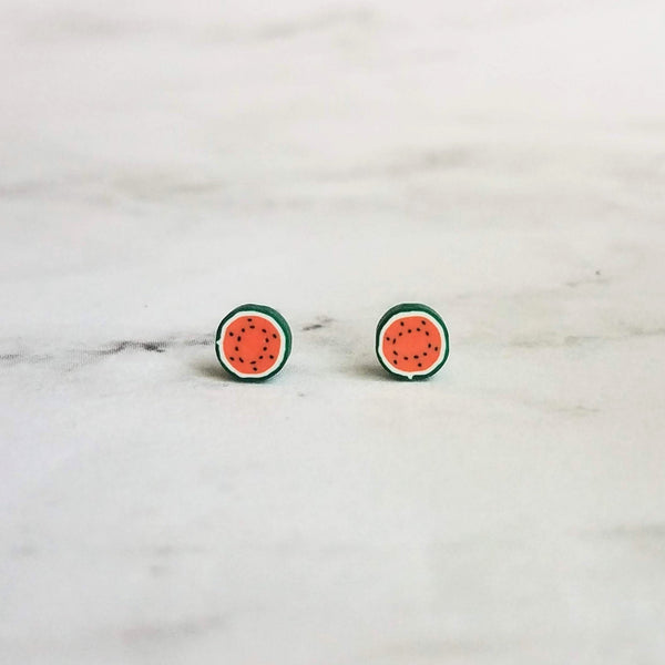 Little Watermelon Earrings - red miniature seeded melon fruit slice studs with green/white rinds on pierced surgical steel posts - foodie - Constant Baubling