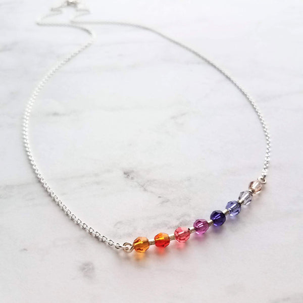 Rainbow Necklace - little colorful round faceted Swarovski crystal & delicate sterling silver chain - small multicolor beads - gift for her - Constant Baubling