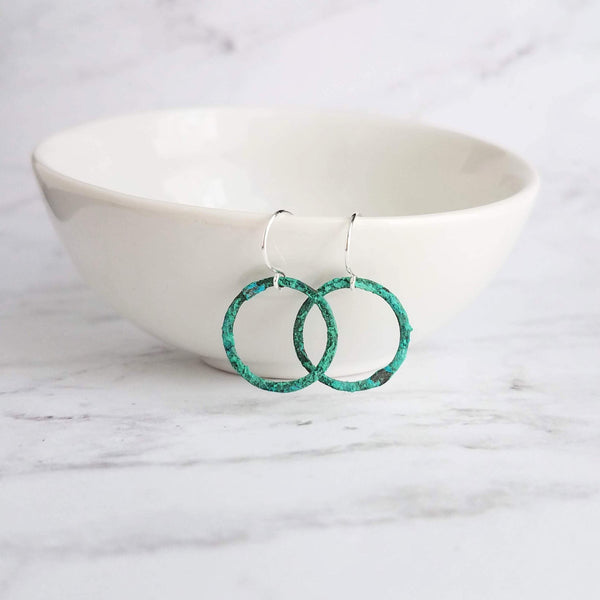 Small Hoop Earrings - thin little simple lightweight verdigris patina circles in blue green copper on simple hooks - handmade gift for her - Constant Baubling