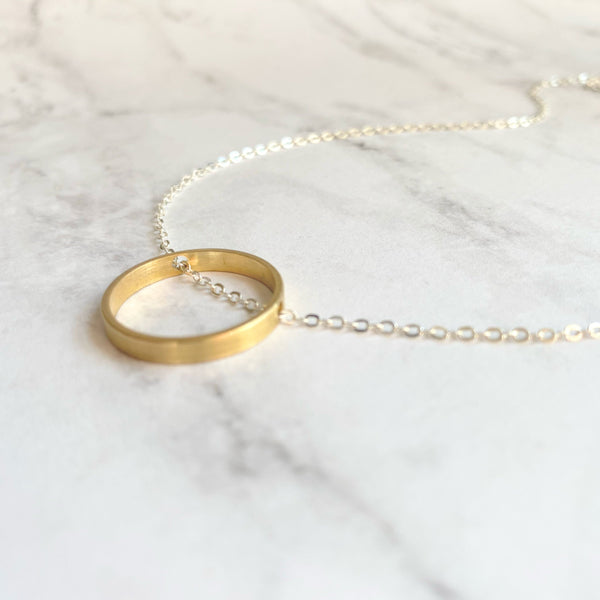 Gold Circle Necklace - dainty minimalist silver chain through simple plain round hoop pendant - mixed metal everyday layering jewelry - Constant Baubling