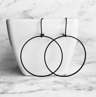 Black Hoop Earrings - matte finish thin simple lightweight circles on latching kidney ear hooks - lightweight handmade everyday jewelry - Constant Baubling
