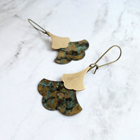 Patina Leaf Earrings - Asian style large blue green copper verdigris & smaller gold brass ginkgo leaves - mottled oxidized rustic jewelry - Constant Baubling