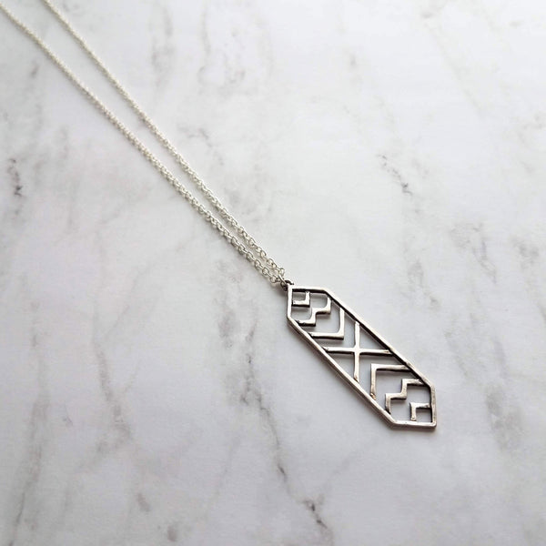 Tribal Necklace - antique silver oxidized pewter color finish arrow pendant - 30 inch extra long chain & clasp - lightweight geometric charm - Constant Baubling