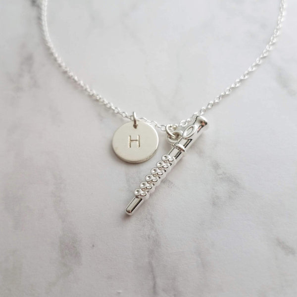 Flute Necklace - little silver piccolo pendant & small personalized initial disk charm - choose your letter - band orchestra musician gift - Constant Baubling