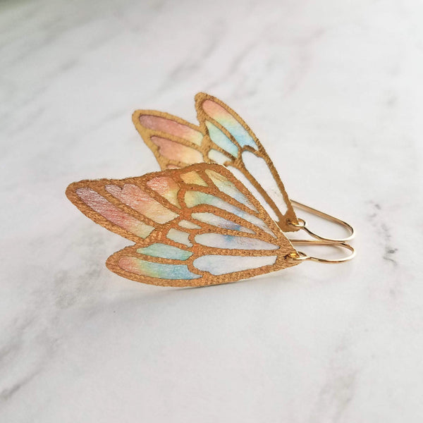 Wing Earrings - 14K gold fill hook w/ large 2 inch rainbow butterfly angel wing - transluscent colorful stained glass style outline - Constant Baubling