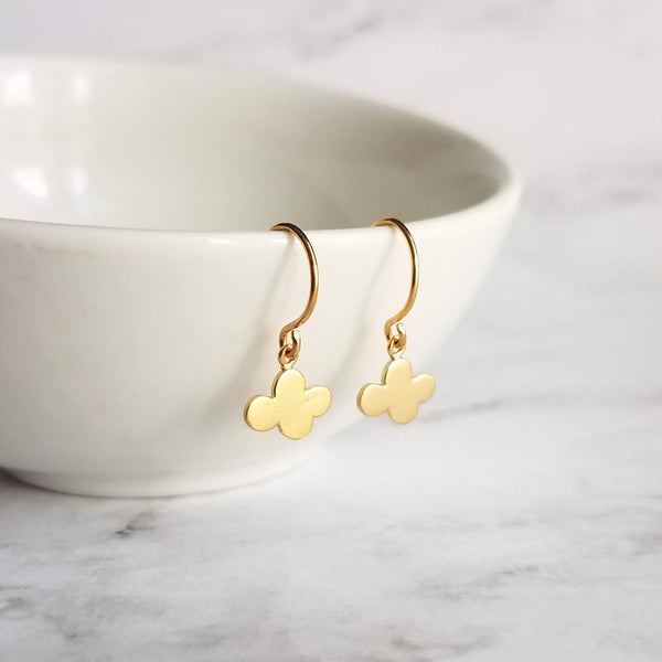 Small Cloud Earrings - very tiny gold puff cumulus charm dangles - upgrade to simple dainty 14K solid gold hooks - rain storm weather gift - Constant Baubling