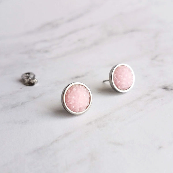 Pink Drusy Earrings - small round 3D rough crystal sparkling resin on hypoallergenic steel post stud - iridescent pastel rock/druzy style - Constant Baubling