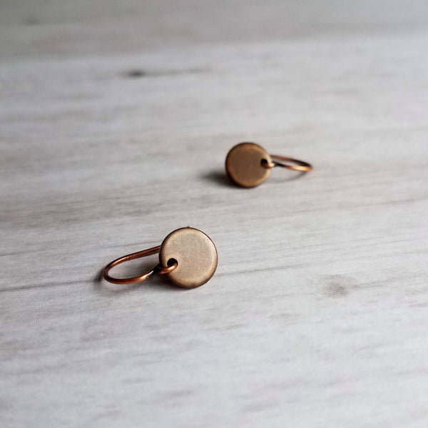 Copper Sequin Earrings - small round dark rustic antique/aged rust brown disc - little simple hook - lightweight minimalist tag disk - Constant Baubling