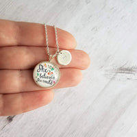 She Believed She Could Necklace - motivation inspiration pendant & personalized initial letter charm - floral gift for teen tween girl - Constant Baubling