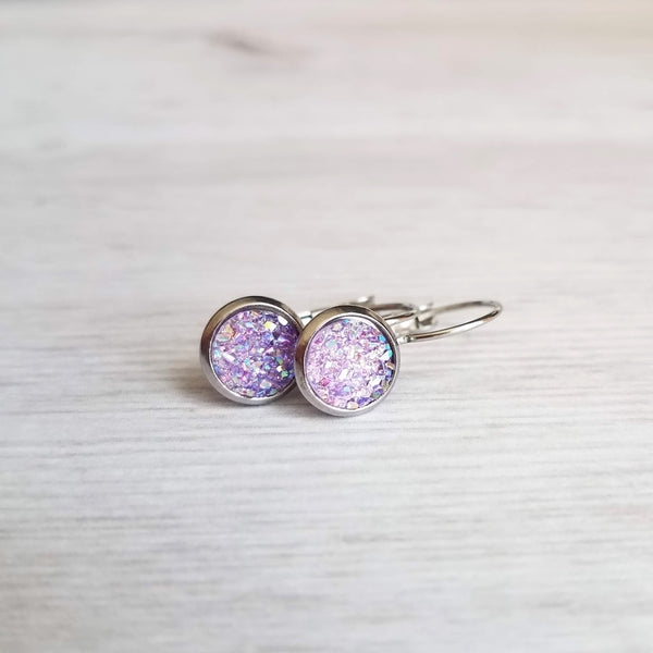 Purple Rock Earrings - light lilac rough bumpy faux rock drusy on steel latching leverback - jagged iridescent drusy stone imitation - Constant Baubling