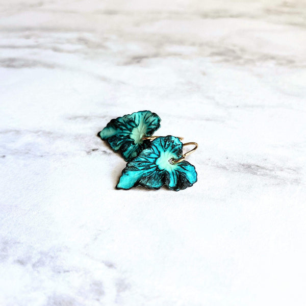 Small Leaf Earrings - 14K gold fill hooks w/ blue green aqua aged verdigris patina leaves - simple woodland minimalist handmade gift for her - Constant Baubling