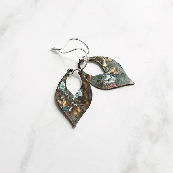 Earthy Earrings in verdigris patina - small thin flat pointed teardrop charms of blue green aqua brown - silver, gold, copper, bronze hooks - Constant Baubling