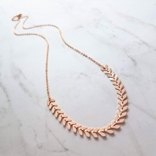 Rose Gold Necklace - herringbone v arrow flexible & delicate thin cable chain - polished shiny pink gold jewelry - 19 inch customizable - Constant Baubling