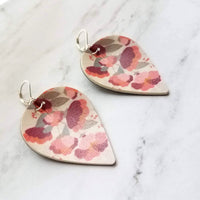Coral Flower Earrings - vegan faux leather upside down teardrop/leaf shape - pink/grey/white floral print handmade on inverted drop - Constant Baubling