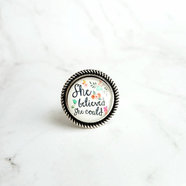 Motivational Ring - She Believed She Could, So She Did - whimsical watercolor floral - strength believe in you boss gift - silver wide band - Constant Baubling