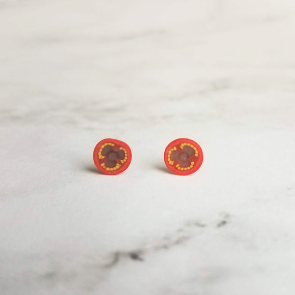 Tomato Earrings - small little red veggie/fruit slice on pierced surgical steel post - small handmade foodie gift for hostess, chef, cook - Constant Baubling