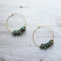 Gold Hoop Earrings - blue green aqua aged verdigris patina eucalyptus leaves and gold round ball beads - mottled splotch wavy disc/disk - Constant Baubling