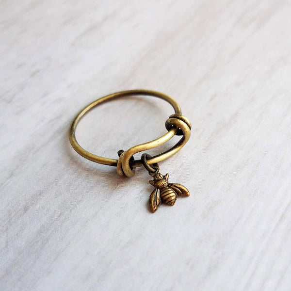 Bee Ring - bumblebee charm in oxidized antique brass/bronze on adjustable bangle style ring - size 5 6 7 8 9 band gift for her - Constant Baubling