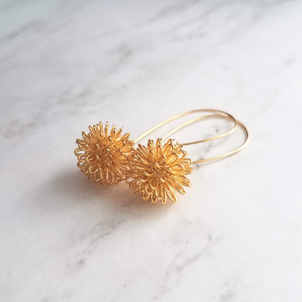 Gold Knot Earrings - little tangle wire sphere ball on simple gold plated latching kidney ear hook - tie the knot earring - bridesmaid gift - Constant Baubling