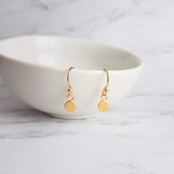 Gold Sequin Earrings - 14K gold fill small delicate hook & hypoallergenic gold vermeil shiny flat circle disk - simple round disc jewelry - Constant Baubling
