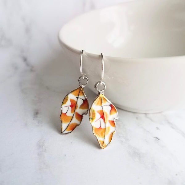 Fall Leaf Earrings - little enamel leaves - yellow orange red green tiny ginkgo print charm - sterling silver hook upgrade - autumn jewelry - Constant Baubling