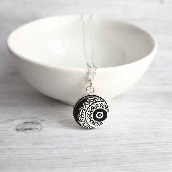 "Mandala Necklace - black white etched wood yoga pendant - Hindu Buddhist endless round universe meditation symbol - simple silver 19"" chain - Constant Baubling"