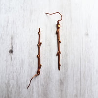 Copper Branch Earrings - long thin straight stick charm dangles - antique/oxidized finish hooks - handmade tree/nature fall jewelry gift - Constant Baubling