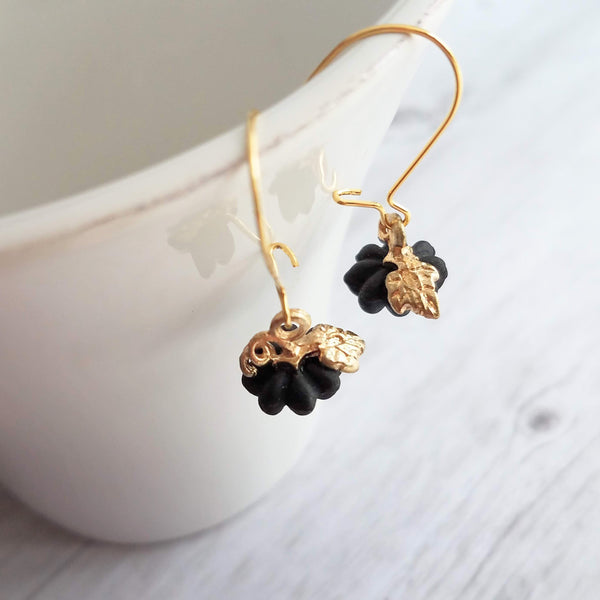 Black Pumpkin Earrings - tiny little resin jack o lantern charm on gold kidney hooks - October birthday or trick or treat/Halloween gift - Constant Baubling