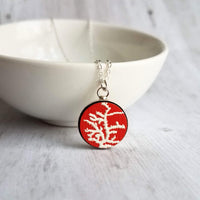 Coral Necklace - red white round ocean underwater animal pendant - ocean sea life reef jewelry charm on handmade simple silver 19 inch chain - Constant Baubling