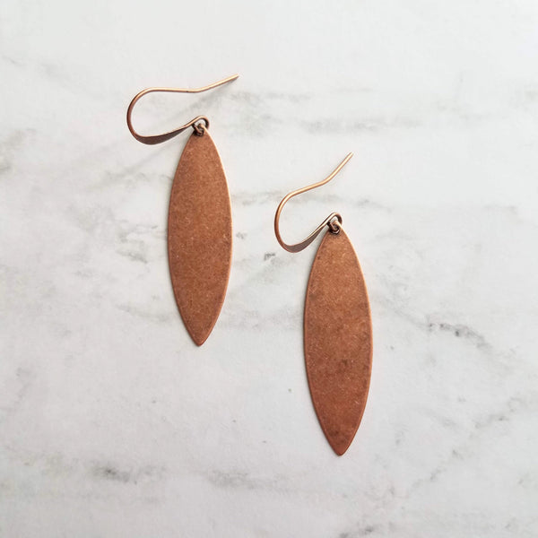 Long Copper Earrings - antique aged finish round rust brown thin flat pointed oval spheroid - lightweight minimalist simple ear hook - Constant Baubling
