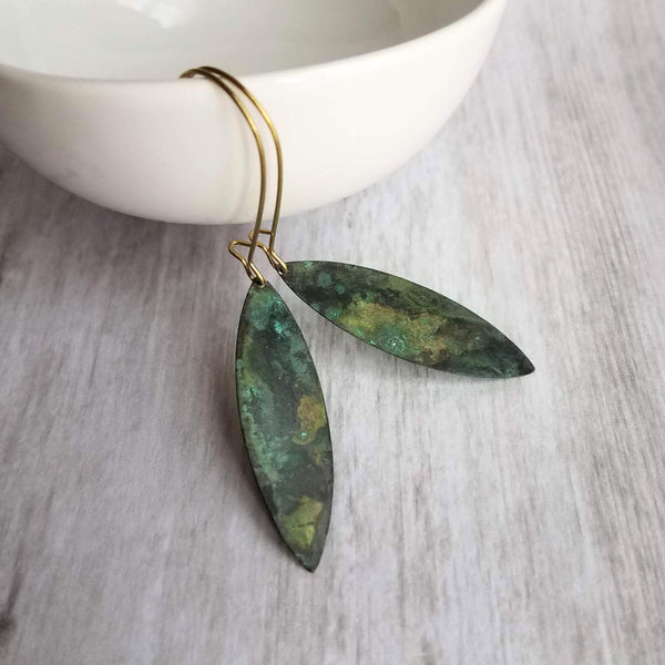 Long Drop Earrings - thin flat pointed ellipse oval in verdigris patina - mottled splotch in blue green aqua brown on gold aged kidney hooks - Constant Baubling