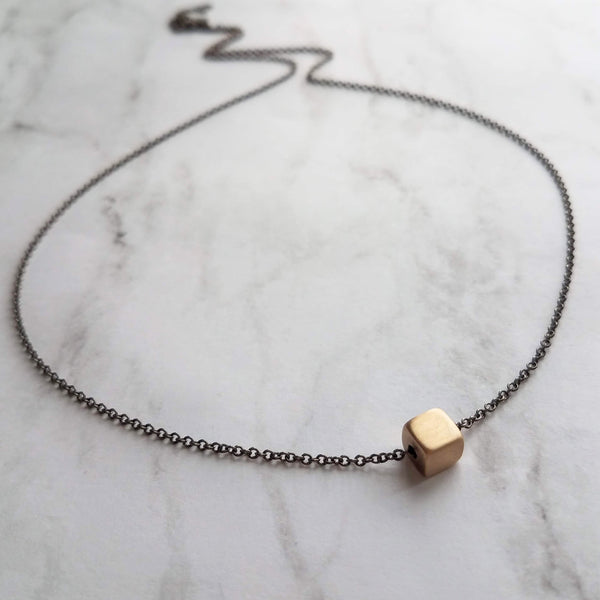 Gold Cube Necklace - solid square brass slider bead on delicate 20 inch silver black chain - minimalist everyday simple plain necklace gift - Constant Baubling