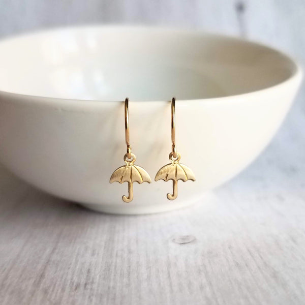 Tiny Gold Umbrella Earrings - little rainy day storm weather charm dangles - small simple ear hooks - handmade cheer up gift for her - Constant Baubling